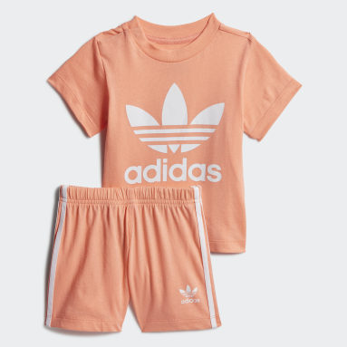 Kids Originals Orange Trefoil Shorts Tee Set