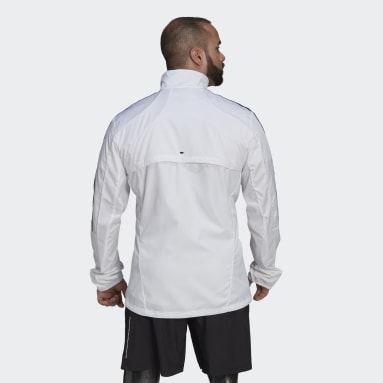 Men Running White Marathon 3-Stripes Jacket