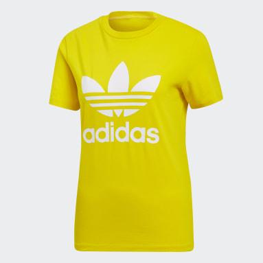 Camiseta Trefoil Amarillo Mujer Originals