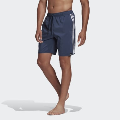 Men Swimming Blue Classic-Length 3-Stripes Swim Shorts