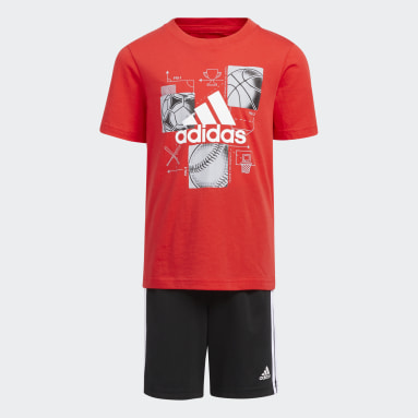 Children Basketball Red GRAPHIC TE SHORT SET