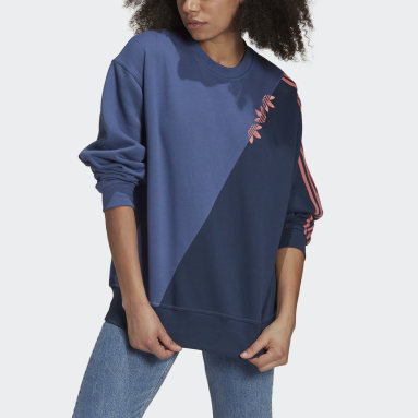 Dam Originals Blå Adicolor Sliced Trefoil Sweatshirt