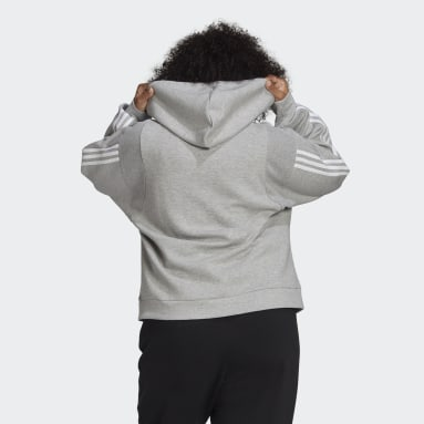 Women Sportswear Grey adidas Sportswear Wrapped 3-Stripes Full-Zip Hoodie (Plus Size)