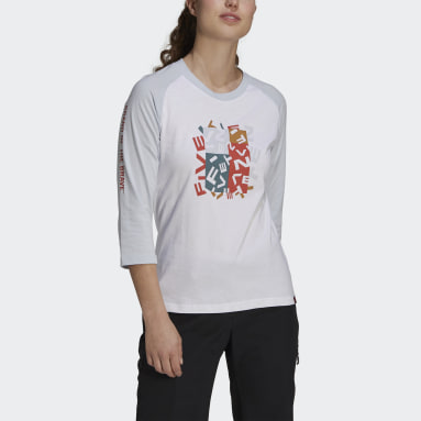 Dames Five Ten Wit Five Ten Graphic 3/4 Sleeve Shirt