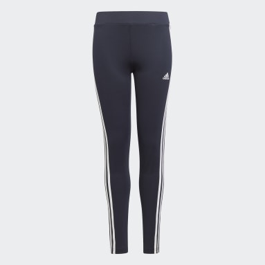Girls Lifestyle Blue Designed 2 Move 3-Stripes Tights