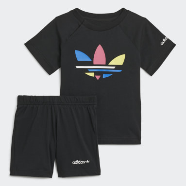 Kids Originals Black Adicolor Shorts and Tee Set