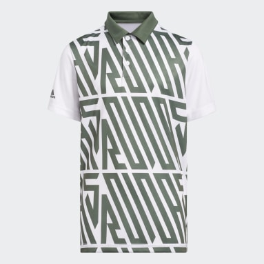 Boys Golf Green Printed Polo Shirt