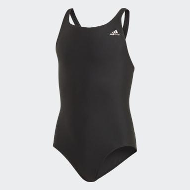 Mädchen Schwimmen Solid Fitness Badeanzug Schwarz