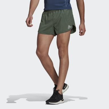 Men Running Green adidas Fast Split Shorts