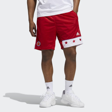 Men Basketball Red Old-School Shorts