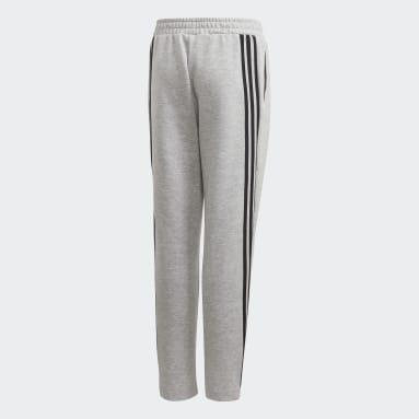 Pantalon 3-Stripes Doubleknit Tapered Leg Gris Garçons Fitness Et Training