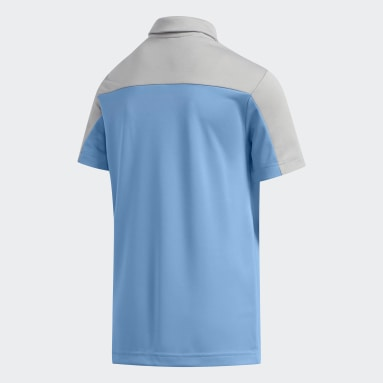 Youth Golf Blue Heathered Colorblock Polo Shirt