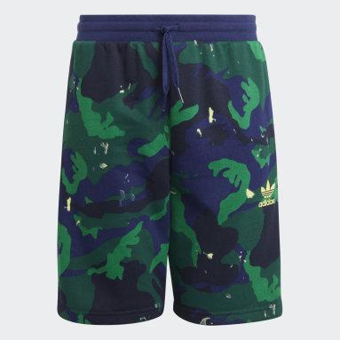 Allover Camo-Print Shorts Niebieski