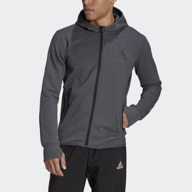 Erkek Training Gri adidas Designed To Move Motion Full-Zip AEROREADY Kapüşonlu Üst