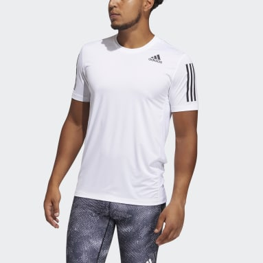 Men Gym & Training White Techfit 3-Stripes Fitted Tee