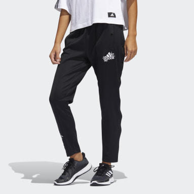 Women Sportswear Black Graphic Snap Pants