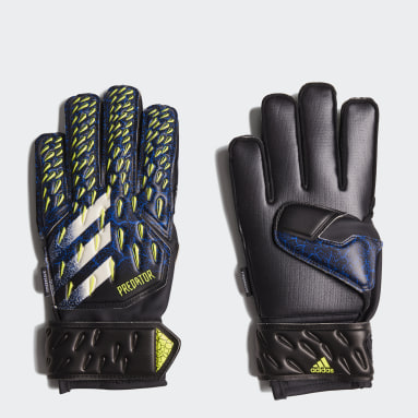 Kids Football Black Predator Match Fingersave Goalkeeper Gloves