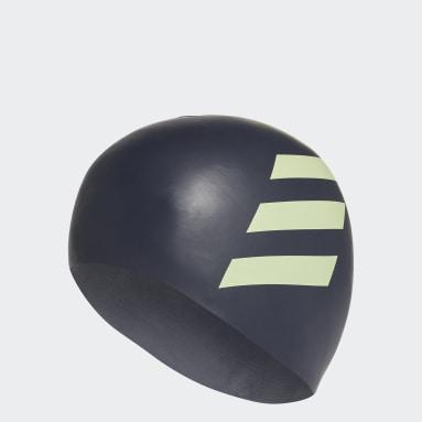 Bonnet de bain 3-Stripes Silicone Bleu Enfants Natation