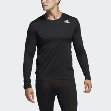 Men Training Black Techfit Fitted Long Sleeve Tee