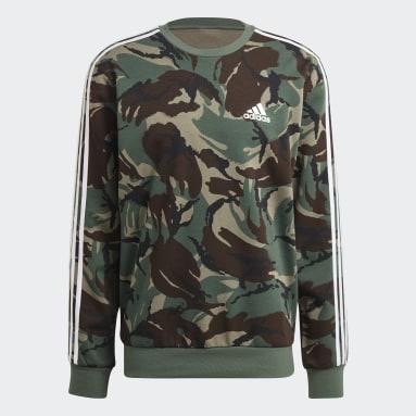 Men Essentials Green Essentials Camouflage Crew Sweatshirt