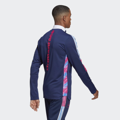 Men Football Blue Human Race Track Top