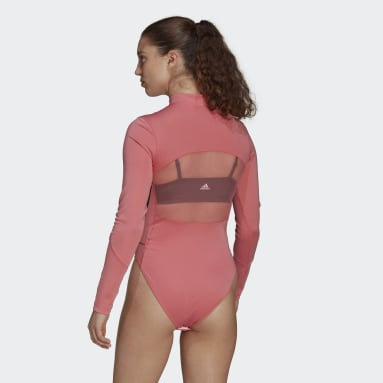 Women Training Pink Mesh Leotard