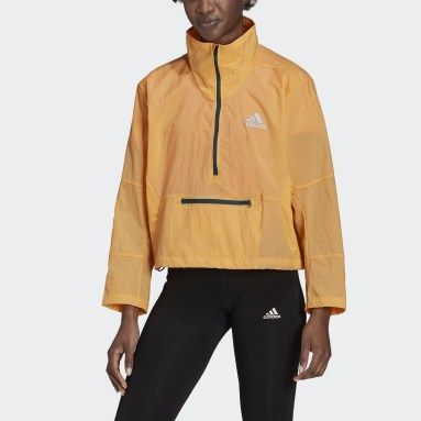 Women Running Orange Adapt Jacket