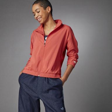 Frauen Cricket 3 Bar Logo Warm-Up Sports Jacke Rot