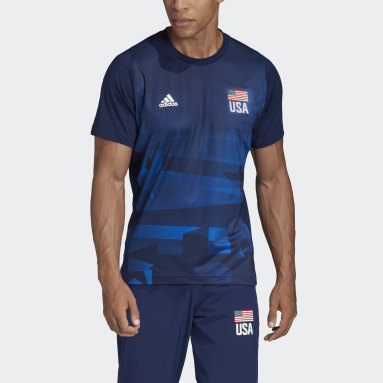 Men's Volleyball Blue USA Volleyball Primeblue Replica Tee
