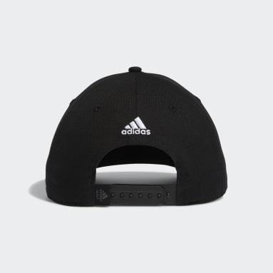 Men Golf Black adidas Script Curved Snapback Cap