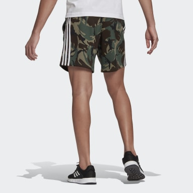 Men Sport Inspired Green Essentials French Terry Camouflage Shorts