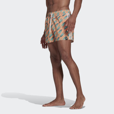 Herr Simning Orange Graphic Swim Shorts