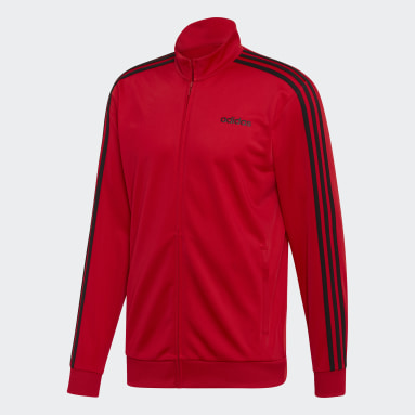 Veste de survêtement Essentials 3-Stripes Tricot Rouge Hommes Fitness Et Training