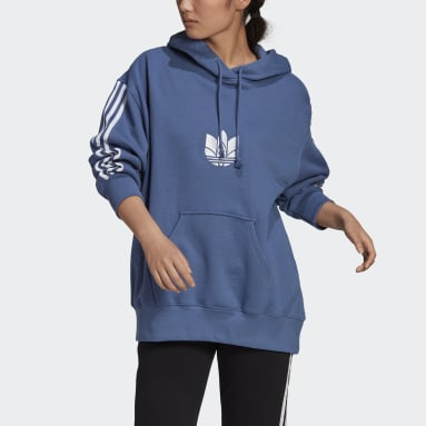 Women Originals Blue LOUNGEWEAR Adicolor 3D Trefoil Oversize Hoodie