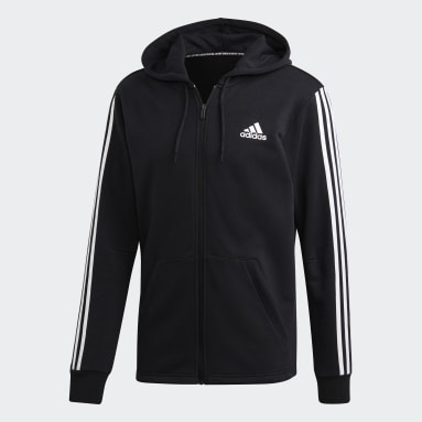 Muži Sportswear čierna Mikina skapucňou Must Haves 3-Stripes French Terry