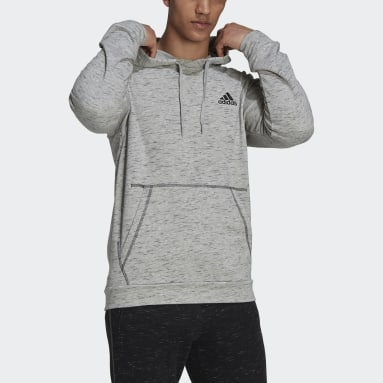 Men Sportswear Grey Essentials Mélange Embroidered Small Logo Hoodie