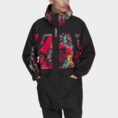 Men Originals Black adidas Adventure GORE-TEX Archive Print Block Windbreaker