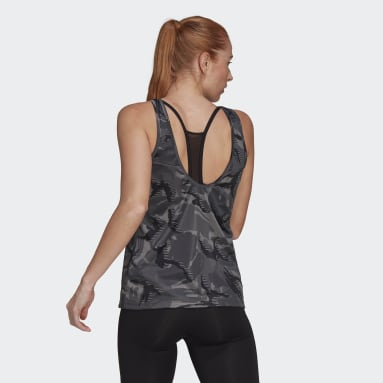 Dam Gym & Träning Grå AEROREADY Designed 2 Move Camouflage-Print Tank Top