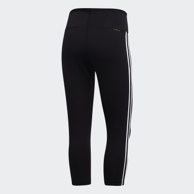 Dames Veld Hockey Zwart Design 2 Move 3-Stripes 3/4 Legging