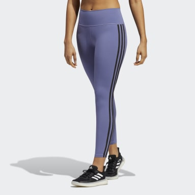 Believe This 2.0 3-Stripes 7/8 Tights Fioletowy