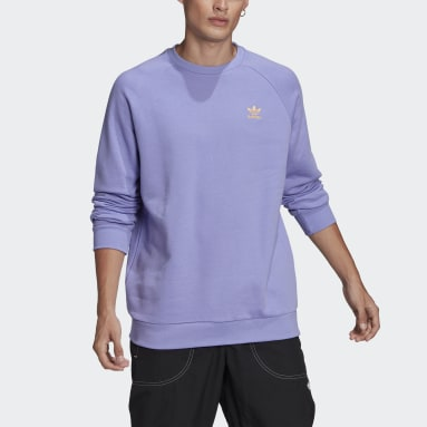 Men Originals Purple LOUNGEWEAR Trefoil Essentials Crewneck Sweatshirt