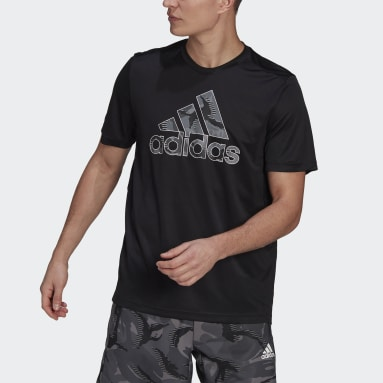Men Gym & Training Black adidas Designed 2 Move Camouflage Graphic AEROREADY Tee