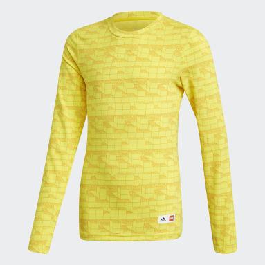 Děti Cvičení A Trénink žlutá Tričko adidas x Classic LEGO® Bricks Long Sleeve Fitted