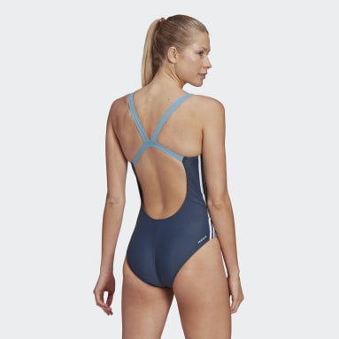 Women Swimming Blue adidas SH3.RO 3-Stripes Colorblock Swimsuit