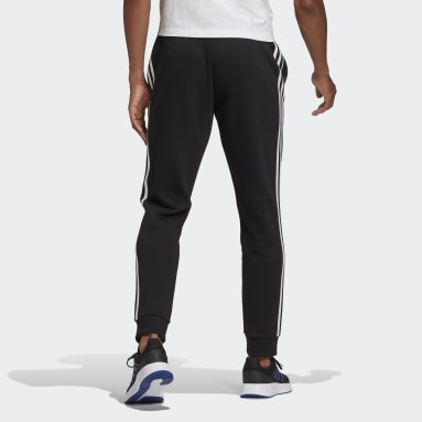 Men Sport Inspired Black Essentials Fleece Tapered Cuff 3-Stripes Pants