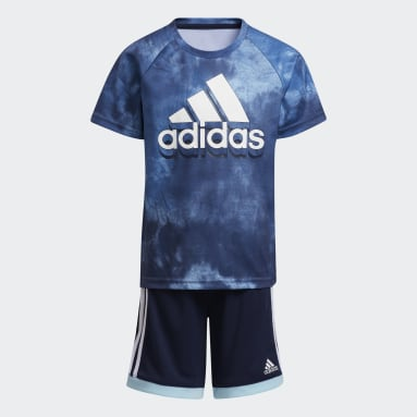 Children Training Blue Print Top and Shorts Set