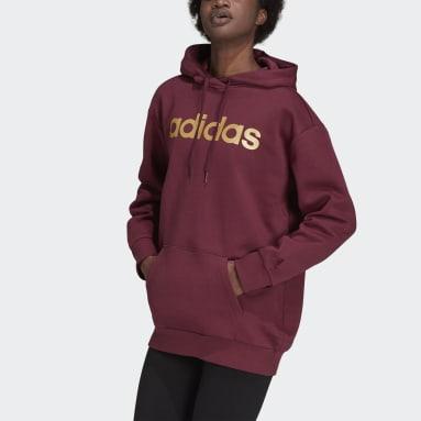 Women Sportswear Red Essentials Oversize Fleece Hoodie