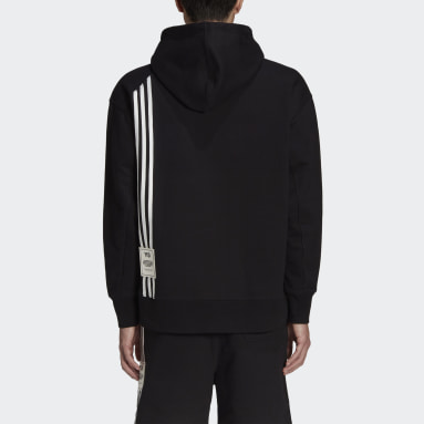 Men Y-3 Black Y-3 3-Stripes Terry Hoodie
