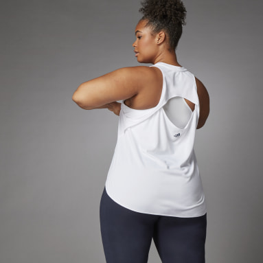 Women Running White 3 Bar Logo Tank Top (Plus Size)