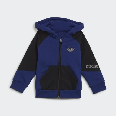 Ensemble adidas SPRT Collection Full-Zip Hoodie Bleu Enfants Originals